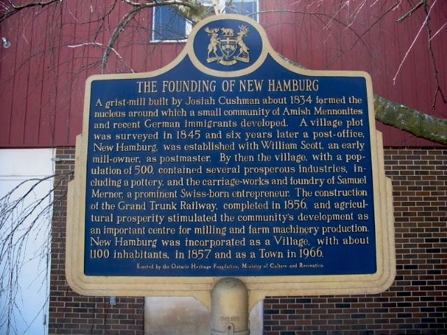 The Founding of New Hamburg plaque