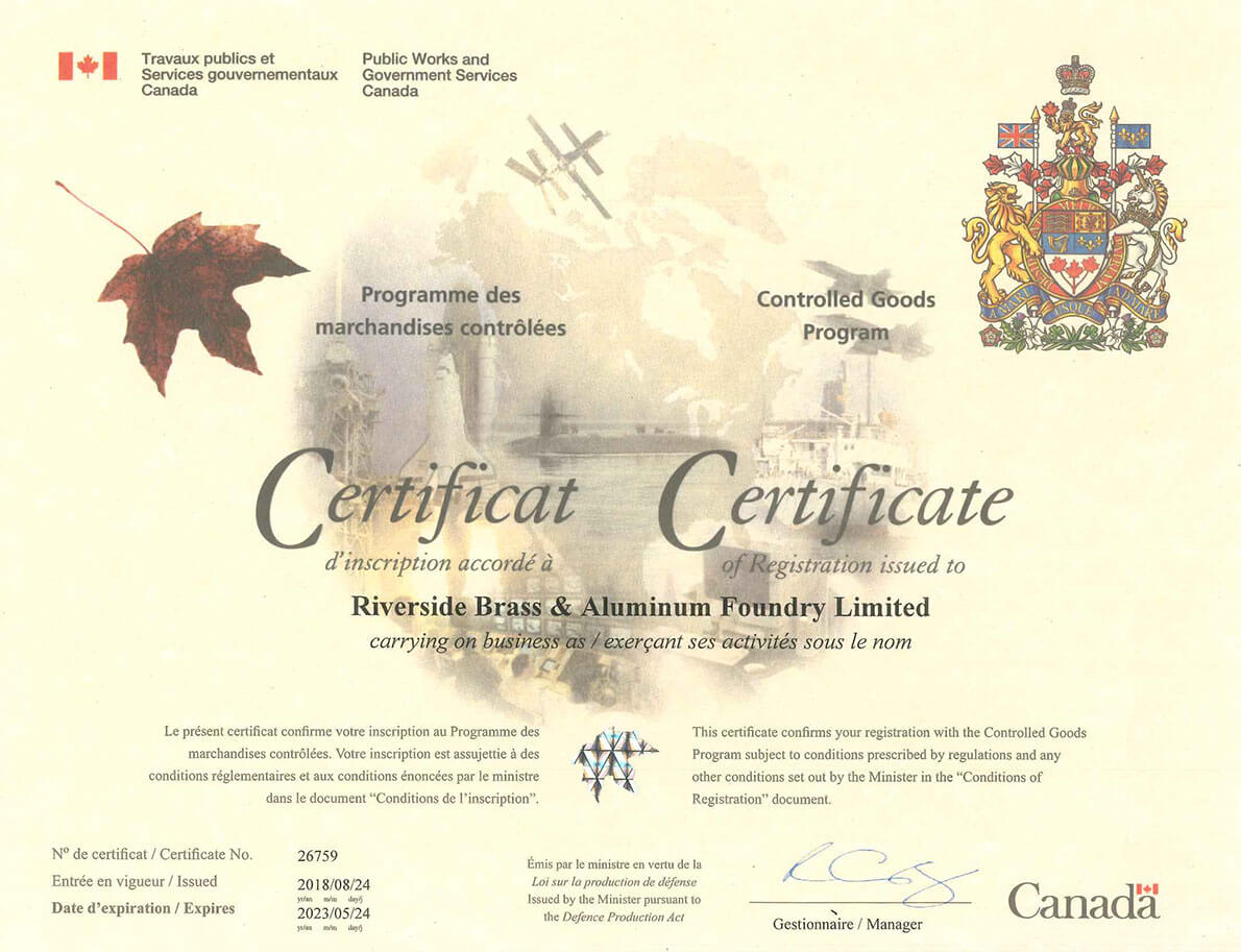 Controled Goods Certificate No. 26759